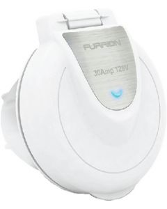 Furrion White Round 30A Square RV Power Inlet with Powersmart Technology