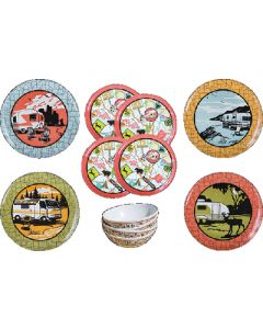 Dish Set-12Pc Vintage Roadtrip - 12 Piece Dish Set