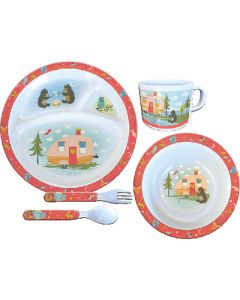 Dish Set-5Pc Owl&Bear Campsite - 5 Piece Kid'S Set