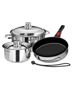 Magma Nestable 7-Piece Cookware - Stainless Steel/Slate Black Ceramica Non-Stick Interior