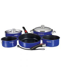 Magma Nesting 10-Piece Cookware - Cobalt Blue Exterior & Slate Black Ceramica Non-Stick Interior