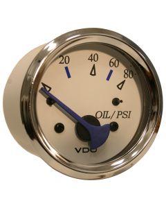 VDO Allentare White 80PSI Oil Pressure Gauge - Use w/Marine 240-33 Ohm Sender - 12V