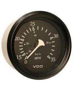 VDO Allentare Black 35MPH 3-3/8 (85mm) Pitot Speedometer - Black Bezel