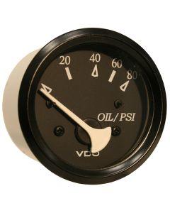 VDO Allentare Black 80PSI Oil Pressure Gauge - Use w/Marine 240-33 Ohm Sender - 12V - Black Bezel