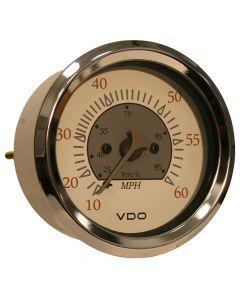 VDO Allentare White/Grey 60MPH 3-3/8 (85mm) Pitot Speedometer