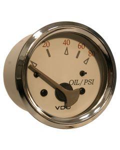 VDO Allentare White/Grey 80PSI Oil Pressure Gauge - Use w/Marine 240-33 Ohm Sender - 12V