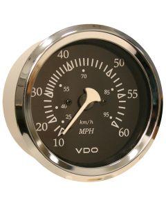 VDO Allentare Black 60MPH 3-3/8 (85mm) Pitot Speedometer - Chrome Bezel