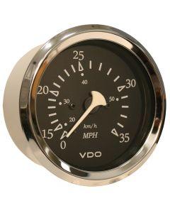 VDO Allentare Black 35MPH 3-3/8 (85mm) Pitot Speedometer - Chrome Bezel