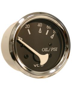 VDO Allentare Black 80PSI Oil Pressure Gauge - Use w/Marine 240-33 Ohm Sender - 12V - Chrome Bezel