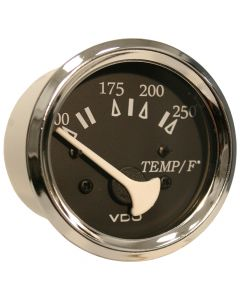 VDO Allentare Black 250 F Water Temperature Gauge - Use w/Marine 450-29 Ohm Sender - 12V - Chrome Bezel
