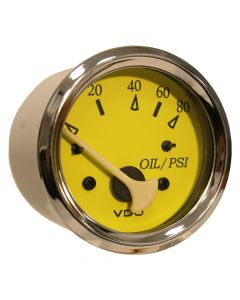 VDO Allentare Yellow/Blue 80PSI Oil Pressure Gauge - Use w/Marine 240-33 Ohm Sender - 12V