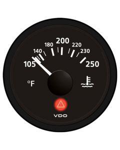 VDO Viewline Onyx 250 F Water Temperature Gauge 12/24V - Use with VDO Sender