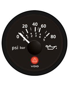 VDO Viewline Onyx 80 PSI/5 Bar Oil Pressure Gauge 12/24V - Use with VDO Sender