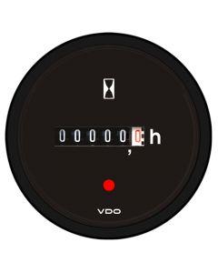 VDO Viewline Onyx Hourmeter, 100K Hours, Illuminated - 12/24V