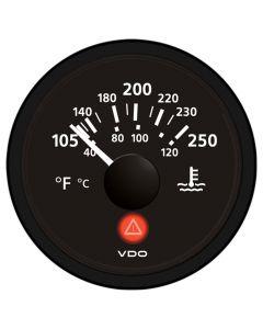 VDO Viewline Onyx 250 F/120 C Water Temperature Gauge 12/24V - Use with VDO Sender