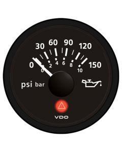 VDO Viewline Onyx 150 PSI/10 Bar Oil Pressure Gauge 12/24V - Use with VDO Sender