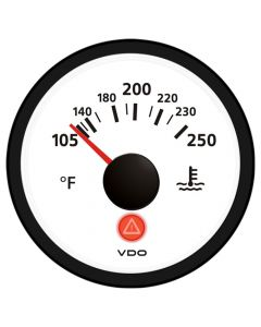 VDO Viewline Ivory 250 F Water Temperature Gauge 12/24V - Use with VDO Sender