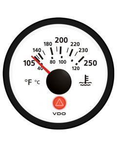 VDO Viewline Ivory 250 F/120 C Water Temperature Gauge 12/24V - Use with VDO Sender