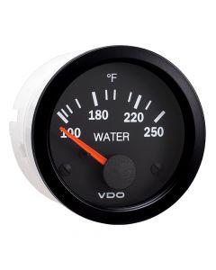 VDO Vision Black 250 F Water Temperature Gauge - Use with US Sender - 12V