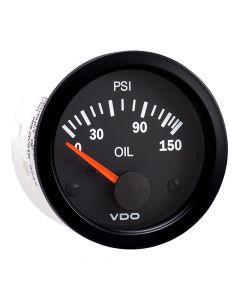 VDO Vision Black 150 PSI Oil Pressure Gauge - Use with VDO Sender - 12V
