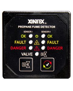 Fireboy Xintex Propane Fume Detector & Alarm w/2 Plastic Sensors & Solenoid Valve - Square Black Bezel Display