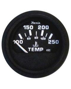 "Faria Heavy-Duty Black 2"" Water Temperature Gauge (100-250°F)"
