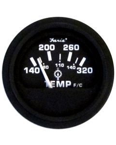 """Faria Heavy-Duty Black 2"""" Oil Temperature Gauge (140°F-320°C)"""