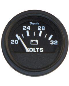 """Faria Heavy-Duty Black 2"""" Voltmeter (20-32 VDC) (24 VDC)"""