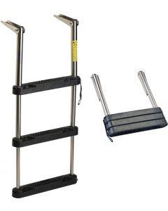 Garelick Over Platform Telescoping Ladder w/ Black Poly Steps Telescoping Boat Ladders