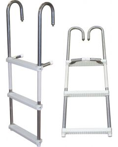 ASC 4 or 5 Step Removable Folding Ladder, Aluminum or Stainless Steel - JIF Marine Pontoon & House Boat Ladders