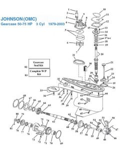 Johnson 50-75 HP 3 Cylinder Gearcase (1979-2003) Exploded View
