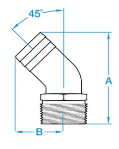 45° Pipe-To-Hose Adapter - Groco