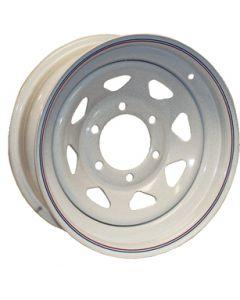 Steel Wheels, Eight Spoke, White w/ Stripes - Loadstar