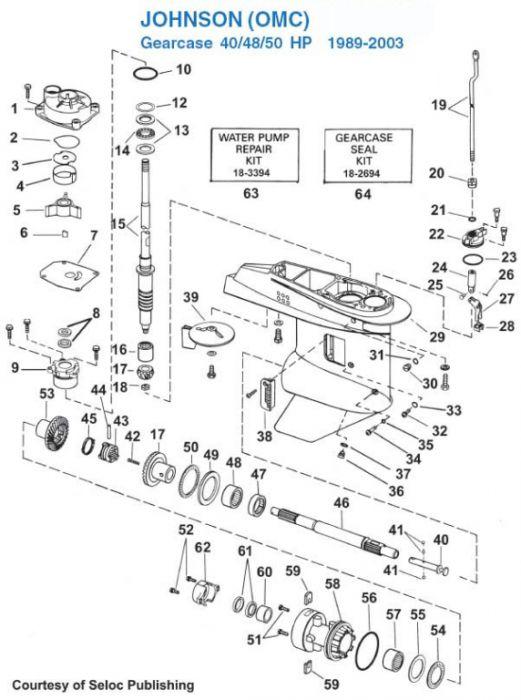 40 48 50 Hp 19892003 Gearcase Diagram For Johnson Evinrude Outboard