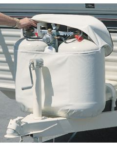 Adco Products 20# Polar Wht Dbl Tank Cover - Vinyl Propane Tank Covers