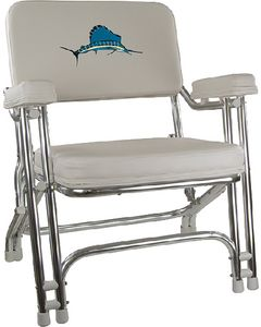 Springfield Deck Folding Chair, White w/Embroidered Back
