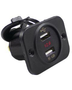 Battery Doctor Dual USB Port w/5-30V DC Voltage Meter
