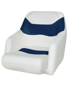 Wise Bucket Seat 1205 with Arms and Flip-Up Bolster, Brite White-Midnite Blue