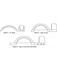 """Fulton Style D, Step Top & Sides, for 13"""" Tires, White"""