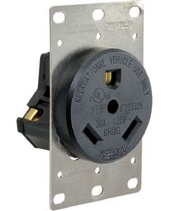30Amp Receptacle W/Mount Plate - 30A Receptacle