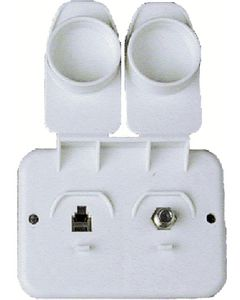 JR Products Phone/Cable Plate Pol.Wht - Phone/Cable Plate