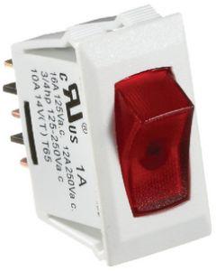 RV Designer Switch-Ill Rocker 10A Wht W-Rd - Illuminated Rocker Switch