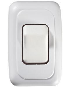 RV Designer Switch-Wall Sgl On-Off White - Contoured On/Off Wall Switch In Plate