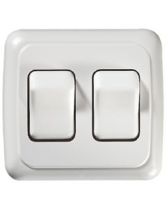 RV Designer Switch-Wall Dbl On-Off White - Contoured On/Off Wall Switch In Plate