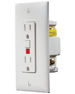 RV Designer Gfci Outlet-Dual W/Cvr Wht - Ac Gfci Outlet With Cover-Plate