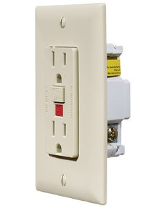 RV Designer Gfci Outlet-Dual W/Cvr Ivory - Ac Gfci Outlet With Cover-Plate