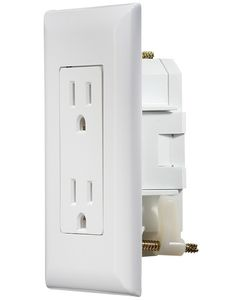 "RV Designer Wht Dual Outlet W/Cov-Plate - Ac ""Self Contained"" Dual Outlets With Cover-Plate"