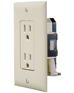 "RV Designer Ivory Dual Outlet W/Cov-Plate - Ac ""Self Contained"" Dual Outlets With Cover-Plate"