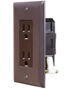 "RV Designer Brwn Dual Outlet W/Cov-Plate - Ac ""Self Contained"" Dual Outlets With Cover-Plate"
