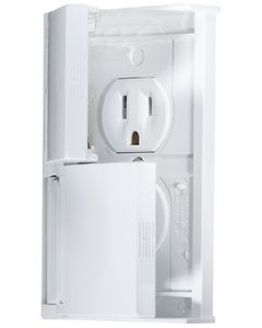 RV Designer Outlet Dual W-Cvr White - Ac Weatherproof Receptacle